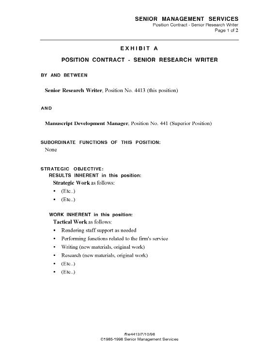 Sample Position Contract, Page 1 - Business Model